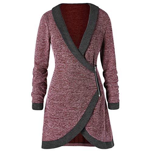 Women Knitted Long Coat Zipper Cardigan Shawl Collar Contrast Trim Side Outwear Wine