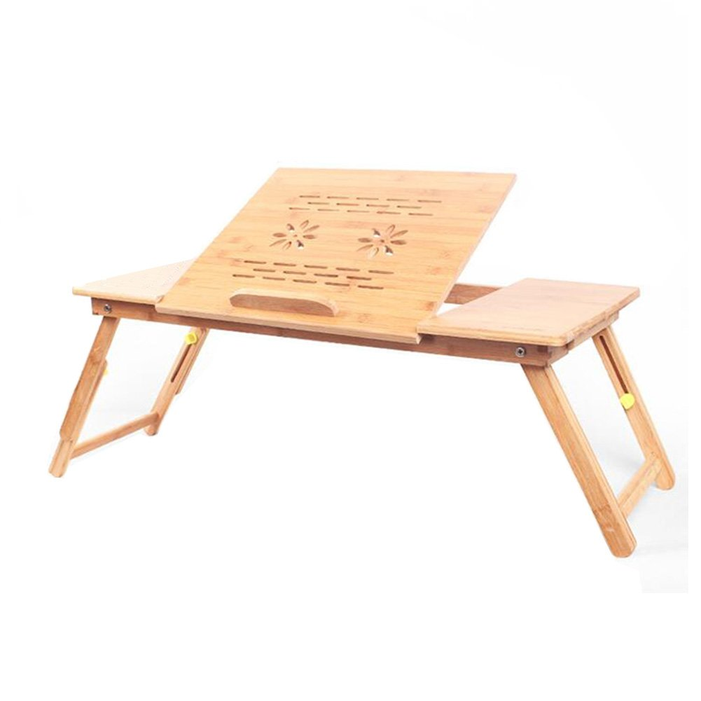 Living Room Furniture CJC Desk Bamboo Foldable Laptop Notebook Adjustable Height Tray Table Bed (Color : T1)
