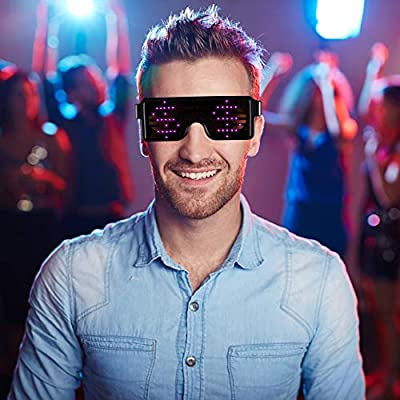 PINK LED Flash Glasses 8 Adjustable Patterns Luminous Flashing Shades Eye Wear For Birthday Party Corporate Events Raves Music Festivals Nightclubs Concerts Weddings Dancing Group Fitness Great Gift