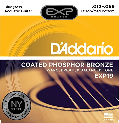 D'Addario EXP19 Coated Phosphor Bronze Acoustic Guitar Strings, Light, 12-56 - Offers a Warm, Bright and Well-Balanced Acoustic Tone and 4x Longer Life - With NY Steel for Strength and Pitch Stability