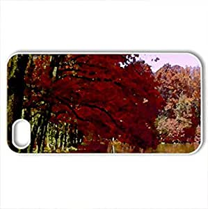 AUTUMN FOREST LAKE - Case Cover for iPhone 4 and 4s (Lakes Series, Watercolor style, White)