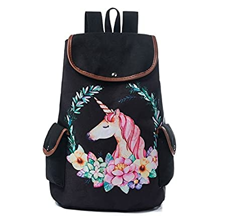Amazon.com: Fashion Galaxy Space Female Drawstring Backpacks Cartoon Unicorn Print Bookbag For Teenager Girls Star School Backpack 001175c: Sports & ...