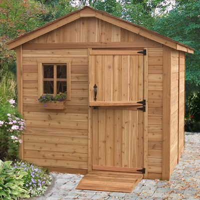 Wood Outdoor Storage Shed - Great Little Shed to Organize Your Garden Tools & Supplies - Space Saver - Very Attractive with One Window & Lockable Door - Red Cedar Construction- Hardware Included -8 ft.x 8 ft-Protect Your Tools-1 Year Warranty - Cedar Outdoor Sheds