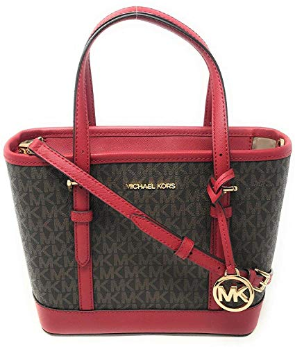 Michael Kors Jet Set Travel Leather XS Top Zip Tote Satchel Bag Scarlet