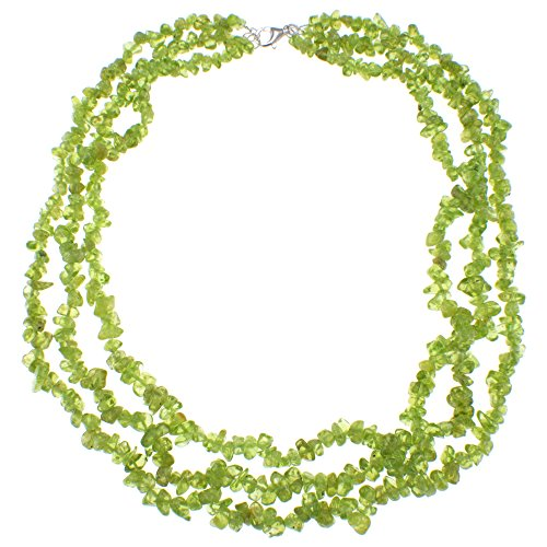 Peridot Triple Strand Chip Fashion Necklace with Sterling Silver Clasp Jewelry for - Strand Silver Triple Necklace