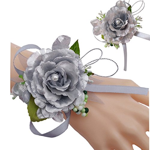 Steen Wedding Bride Bridesmaid Silver Simulation Roses Pearl Corsage And Boutonniere Set of 2 ()