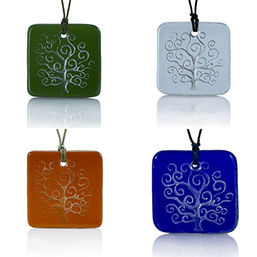 Moneta Jewelry, Recycled Glass Tree of Life Pendant Necklace, Handmade, Fair Trade, Unique Gift