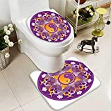 SOCOMIMI 2 Piece Toilet mat Set Mandala Background Yoga Symbols Positions Yin Yang Zen Meditation Pattern Purple 2 Piece Shower Mat Set