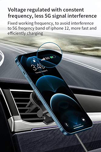 Magnetic Wireless Car Phone Charger 15W Qi Fast Charging Holder for Car Air Vent Holder 360°Rotation Car Phone Mount for Mag-Safe Magsafe Case iPhone 12 Pro/12 Pro Max/12/12 Mini(Black)
