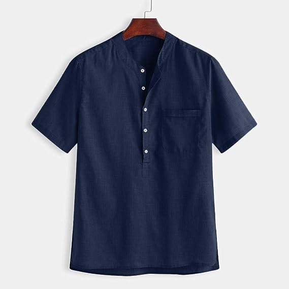 LHWY Camisa de Hombre Tops Shirt 2019 New Camisa de algodón con botón de Color sólido, Transpirable, Fina y Fresca, para Hombres de Verano, Manga Corta: Amazon.es: Ropa y accesorios