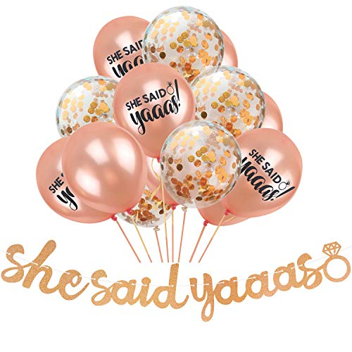 Joymee She Said Yaaas Banner Party Decorations - Pack of 15 Glitter Rose Gold Confetti Balloons for Bachelorette Engagement Wedding Bridal Shower Party Supplies