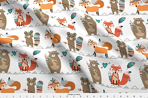 Spoonflower Woodland Fabric - Woodland Tribal Arrow Fox Adorable Contemporary Nursery - by Rocky Rocks Designs Printed on Fleece Fabric by The Yard -