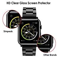 Simpeak Glass Screen Protector for Apple Watch 42mm [3D Curved Full Coverage] HD Clear Tempered Glass Screen Protector for 42mm Apple Watch Series 3 2 1, Anti-Bubble, 1Pack, Black Edge/Clear Screen by Simpeak