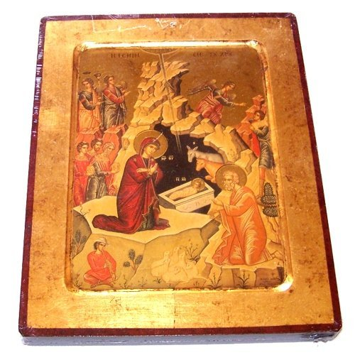 Nativity of our Lord Icon with sheets of Gold (Lithography) (18 x 14 inches) by Holy Land Market