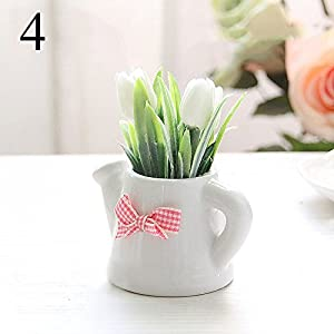 FYYDNZA Small Artificial Plants Decorative Tulip Flowers Mini Potted Kettle Bonsai Valentine'S Day Handmade Gift 1 Set (Plants + Vase),4 95