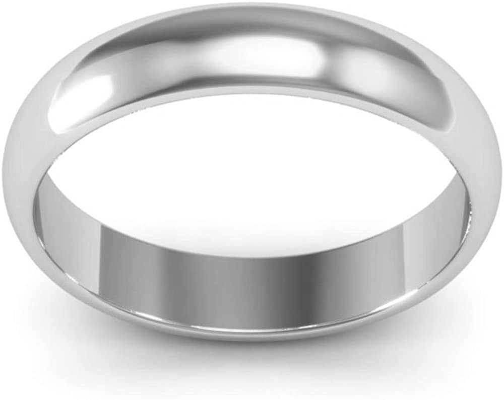 10K White Gold mens and womens plain wedding bands 4mm half round