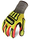 Ironclad KONG MKC5-04-L Knit Cut 5 Refinery Oil & Gas Safety Impact Gloves, Large, Yellow/Red