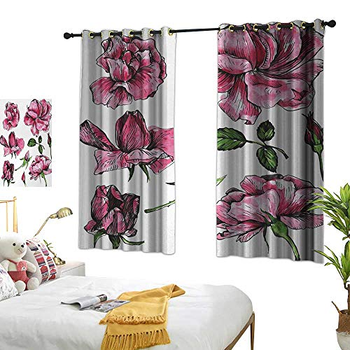Anshesix Printed Insulation Curtain Floral Garden Flowers Roses Buds Leaves Hand Drawn Sketchy Image Art W72 xL45 Hot Pink Light Pink and Green Suitable for Bedroom Living Room Study,etc. ()