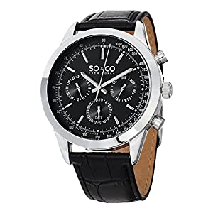 SO & CO New York Men's Multifunction Leather Strap Watch