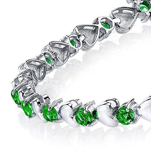 925 Sterling Silver Emeralds Heart Shaped Cubic Zirconia Puff Tennis Bracelet