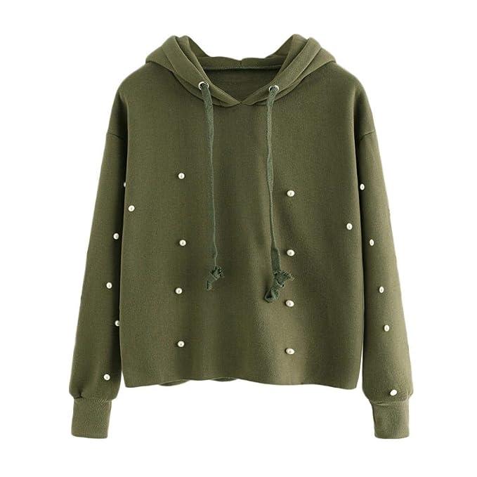 bb01926100fb Sweatshirt Damen Pullover Frauen Sweatshirt mit Kapuze Perle Perlen Hoodie  Raw Hemd Langarm Pullover Oberteile,