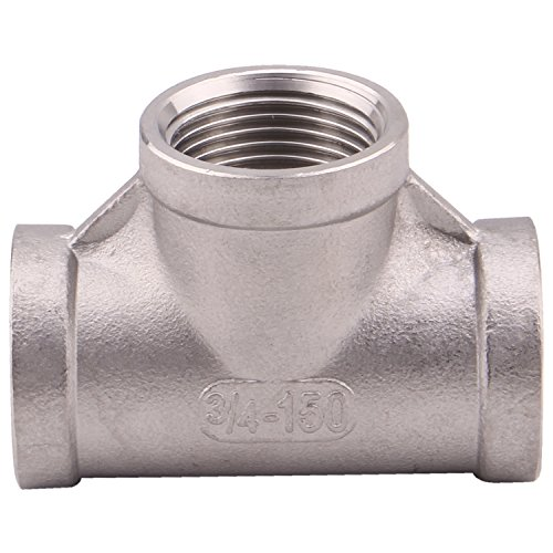 Npt Female Tee - Pipe Fitting Stainless Steel 304 Cast Pipe Fitting, Class 150, 3/4'' NPT Female T Shaped Thread 3 Way Equal Tee Coupling