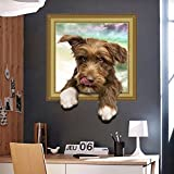 Smartcoco DIY Creative 3D Dog Wall Sticker Kawaii Vivid Removable 3D Hole Puppy Wall Decals Kid Room Living Room Bedroom Decors
