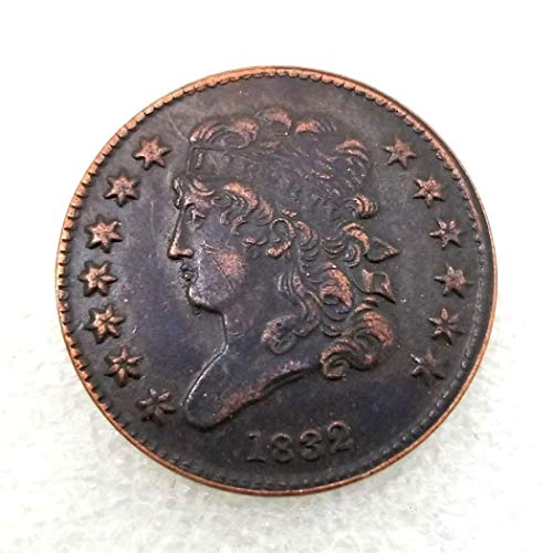 (MarshLing 1832 Antique US Liberty Half-Cent Coin - Great American Commemorative Old Coins - USA Uncirculated Morgan Dollars-Discover History of US Coins Perfect Quality)