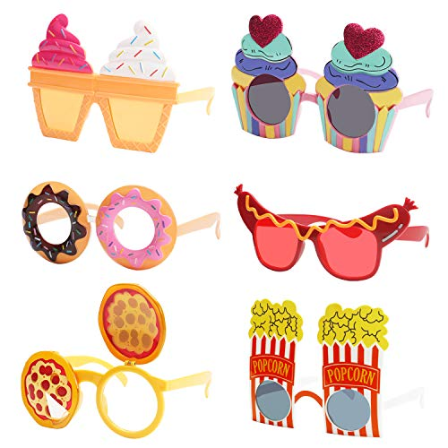 Ocean Line Funny Snack Party Glasses Set - 6 Pairs Summer Luau Sunglasses, Tropical Fancy Costume Favors, Fun Halloween Photo Booth Props, Novelty Party Supplies Decoration for Kids and -