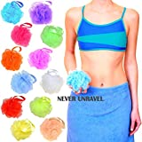 Star NEVER UNRAVEL Bath Sponge Pack of 12 Counts in 12 Colors | Bath Mesh Pouf with Ribbon Loop | Big Shower Sponge and Loofahs | Long Lasting Bathing Exfoliator and Body Scrubbers