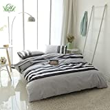 modern cotton quilt - Modern Striped Duvet Cover Set Queen Soft 100% Cotton Reversible Hotel Quality Printed Bedding Collection Set for Boys