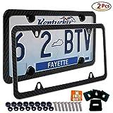 law license plate frame - 2x License Plate Frames Carbon Fiber Metal & Screw Kits Fine Slim Frame Standard Size For US Car