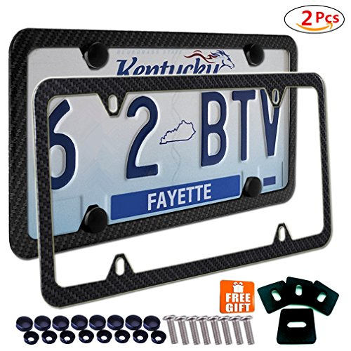 Carbon Fiber License Plate Frame (2x License Plate Frames Carbon Fiber Metal & Screw Kits Fine Slim Frame Standard Size For US Car)