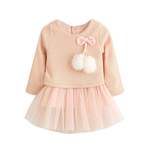 Drindf Girl Clothing Baby Girls Long Sleeve Knitted Bow Newborn Tutu Princess Flower Dress (18-24 Months, Pink)