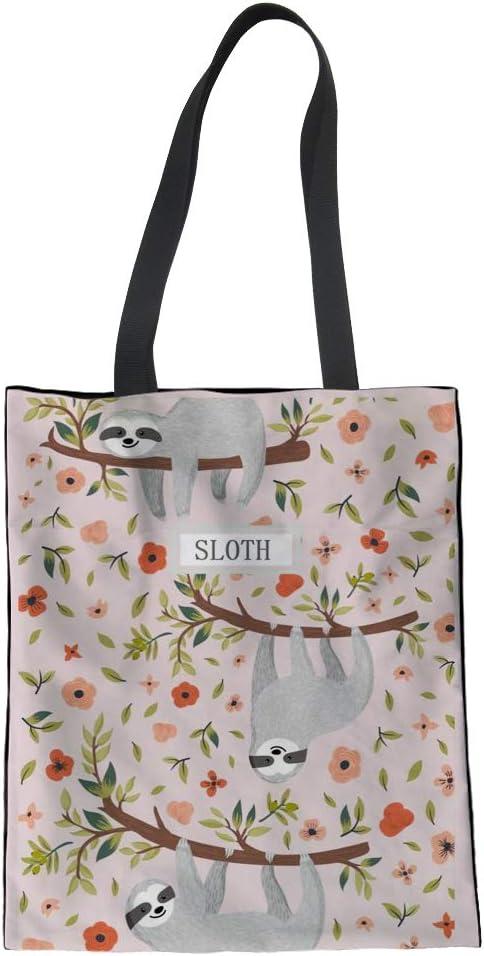 Nopersonality - Divertida bolsa de la compra de algodón para mujeres y niñas Bolsos Large Perezoso en el árbol