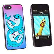 Graphics and More Happy Cartoon Dolphin - Beach Ocean Vacation Snap-On Hard Protective Case for Apple iPhone 5/5s - Non-Retail Packaging - Black