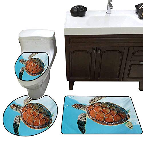 Shower mat 3 Piece Set Turtle Endangered Species Sea Animal in Tropic Caribbean Waters Wildlife 3D Digital Printing Rug Set Turquoise Cinnamon Coconut (Caribbean Massager)