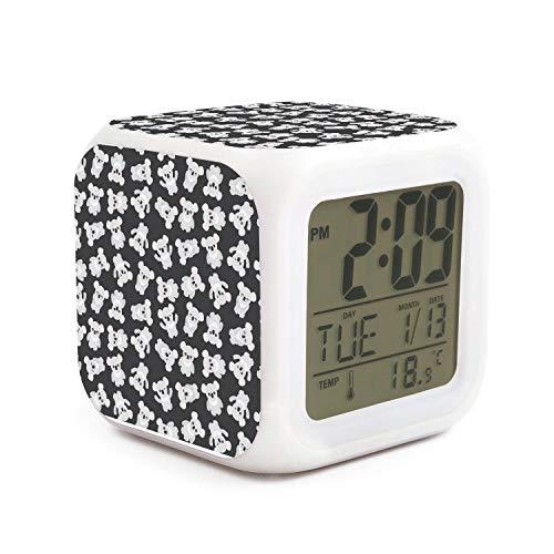 Hotqq Cute Australia Koala Bear Fashion 7 LED Color Change Digital Thermometer Alarm Clock with LCD Display Cube Night Light for Kids -