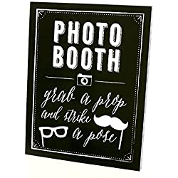 "Photo Booth Sign with Stand - Printed on Sturdy Plastic Material - 8.5"" x 11"""