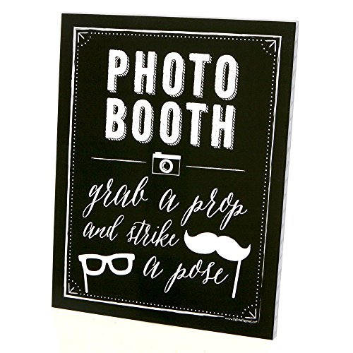 Photo Booth Sign with Stand - Printed on Sturdy Plastic Material - 8.5