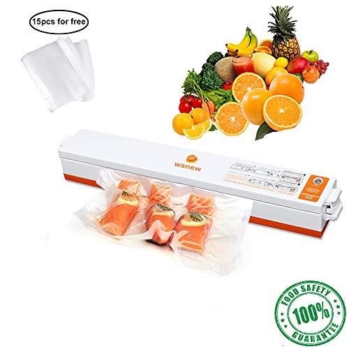 (Wanew Upgrade Vacuum Sealer Automatic FoodSaver Sealing System -15 Food Sealer Bags for Food Preservation/Starter Kit | Lightweight Design | Dry & Moist Food Modes | Led Indicator (Orange-White))