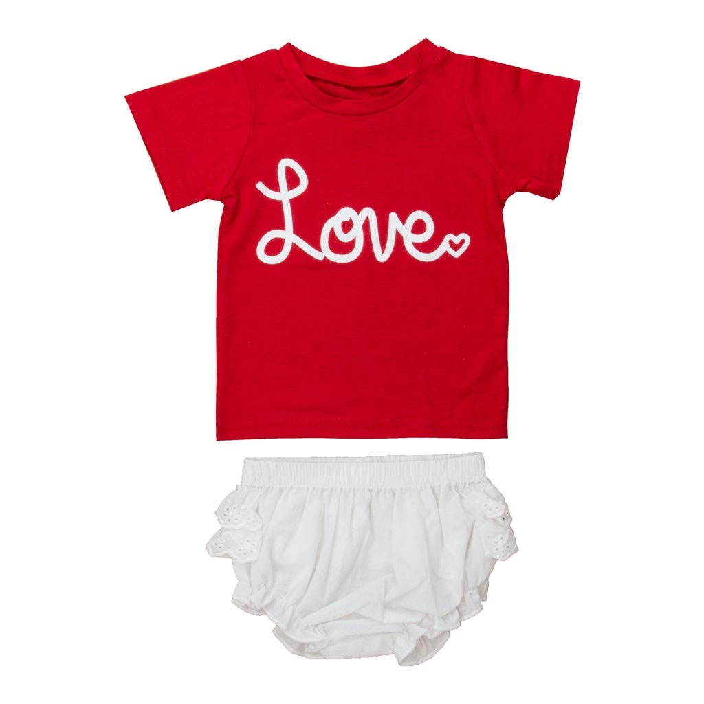 NUWFOR Toddler Baby Boy Girl Short Sleeve Letter T-Shirt Tops+Shorts Set Outfit(Red,12-18 Months)