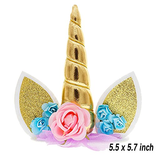 Unicorn Cake Topper, Reusable Unicorn Horn & Ears & Eyelashes and Flowers, Unicorn Party Cake Decoration for Birthday Party, Wedding, Baby Shower by TRAONOR (Image #2)