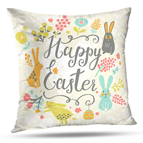 Geericy Decorative Throw Pillow Covers Bright Happy Easter Card Funny Chicken Eggs Cute Cartoon Stylish Holiday Cushion Cover 18X18 Inch for Bedroom Sofa