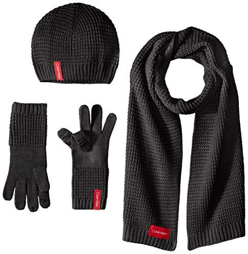 Calvin Klein Women's 3 Pc Waffle Knit Set, black, O/S (Sets Klein Calvin Variety)