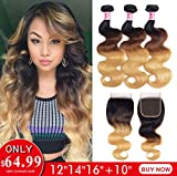 Ombre 8A Grade Body Weave Brazilian Hair 3 Bundles With 4×4 Free Part