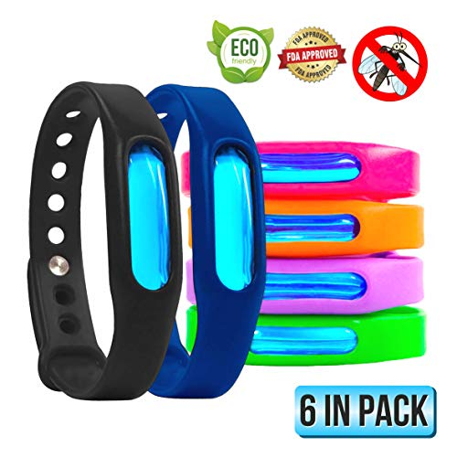 Mosquito Repellent Bracelets - Natural Ingredients - Waterproof Anti Mosquito Band - Bug and Insect Protection Wrist Bands for Adults, Kids, Perfect for Indoor Outdoor Travel Camping Hiking- 6 Pack