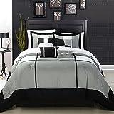 Chic Home Dorchester 8-Piece Comforter Set, King, Black