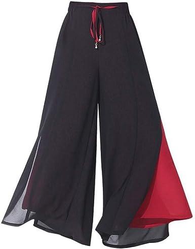 Pantalón Ancho para Mujer Pantalones de Falda de Doble Capa a ...