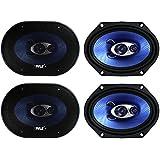 4) NEW Pyle PL683BL 6x8 720 Watt 3-Way Car Coaxial Audio Speakers Stereo - Blue